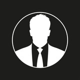 Business man icon  Male face silhouette with office suit and
