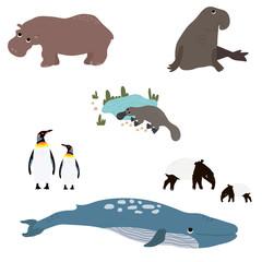 Animals set in flat style. Vector Illustration