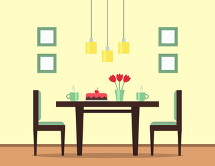 The interior of the dining room. Dining table with cake, cups with tea or coffee, flowers and chairs. Flat style vector illustration.