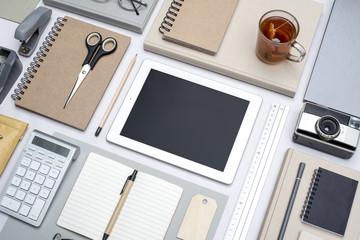Retro office desk digital tablet web design mockup