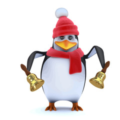 Vector 3d Winter penguin rings his brass bells