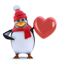 Vector 3d Winter penguin feels the love