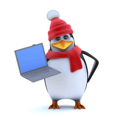 Vector 3d Winter penguin has a new laptop pc to show you