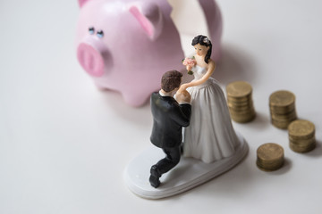 statuette of groom and bride with coins and dollars. Broken Pink pig money box on white background