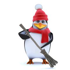 Vector 3d Winter penguin is sweeping up