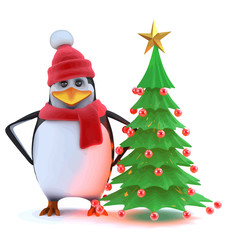 Vector 3d Winter penguin with his Christmas tree