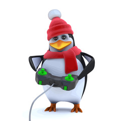 Vector 3d Cute winter penguin is playing a video game