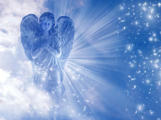 Wall Mural - angel archangel Gabriel, Haniel, Ariel with mystical sky, rays of light