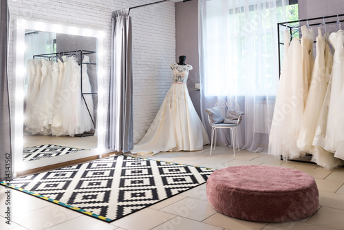 Collection Of Wedding Dresses In The Shop Wedding Salon