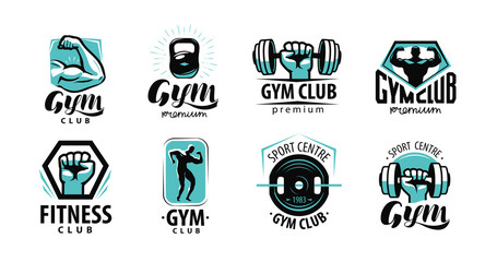 Fitness, gym logo or label. Sport, bodybuilding concept. Vector illustration