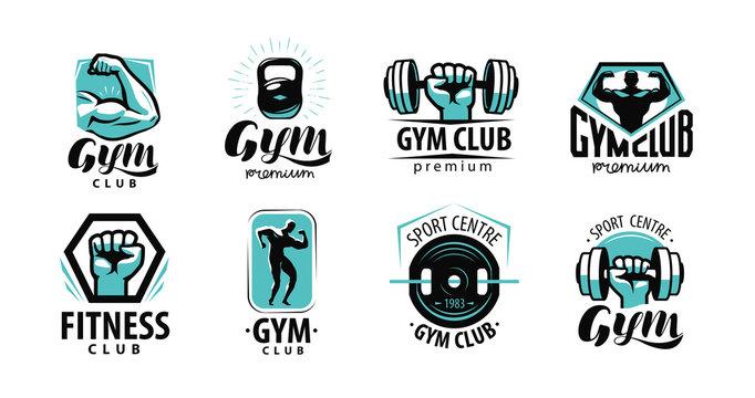 Fitness, gym logo or label. Sport, bodybuilding concept. Vector illustration