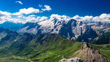 Marmolada massif, Dolomiti, Itay. Beautiful view over the Marmolada glacier and Pordoi Pass from gruppo Sella and Piz Boe peak