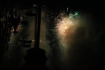 Festive fireworks over the lake