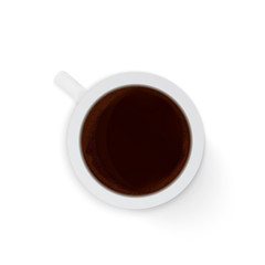Top view realistic cup of coffee espresso isolated on white background. Morning and  breakfast vector illustration. Coffee break concept. Template for flat lay.