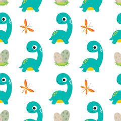Cute dino seamless pattern