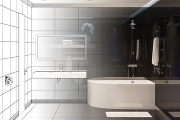 3d illustration. Drawing sketch turns into a real interior