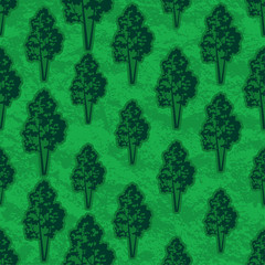 Seamless Pattern, Forest, Trees Silhouettes on Green Tile Background. Vector