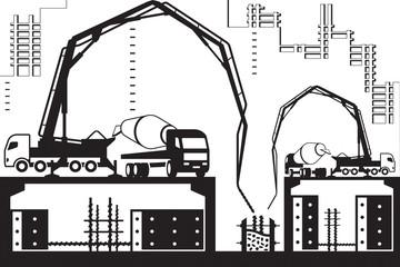 Concrete pump trucks on construction site - vector illustration