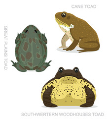 Toad Cane Set Cartoon Vector Illustration
