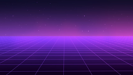 Foto op Aluminium Violet Abstract futuristic landscape 1980s style. Vector illustration 80s party background . 80s Retro Sci-Fi background.