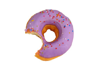 Isolated picture of doughnut with sweet cream topping and colorful sugar bead, popular dessert for kids and teenager that cause overweight problem lead to heart disease because of high dangerous fat