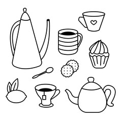 Tea Time set of tea pots, coffee cups, cakes, muffins, snacks and desserts. Coloring book for adults and children. Vector illustration. Isolated design elements.