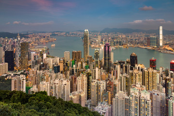 Aerial view Hong Kong crowded city central business downtown, cityscape background