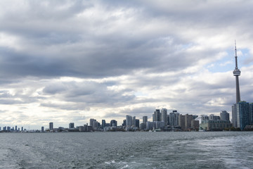 View at Toronto waterfront cityline from the Lake Ontario
