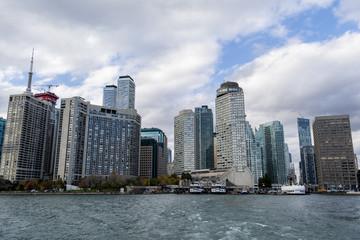 View at Toronto waterfront from Lake Ontario