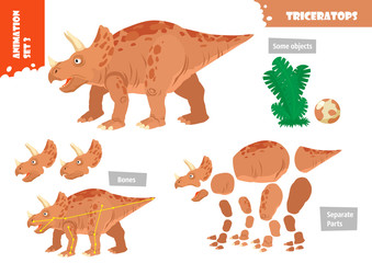 Cartoon Style Dinosaur Triceratops Character For Animation Set. Vector Illustration