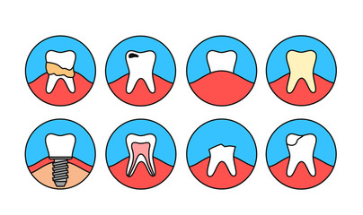 Line Teeth Icons. Dental Calculus, Implant, Nerve, Caries, Tooth Decay Dentist Vector Sign/Symbol