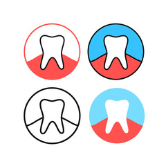 Simple Teeth Dental Icons Set. Tooth Clinic Logo Vector Illustration