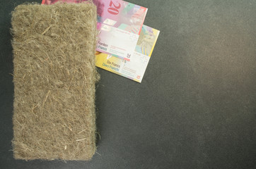natural fibers wall and buildings insulating materials and banknotes