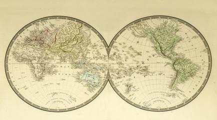 Weltkarte Landkarte von 1875 historisch