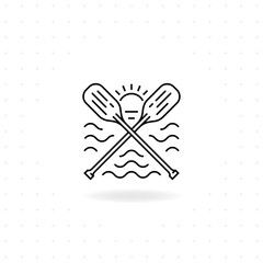Paddles icon, Black thin line crossed canoe paddles icon with shadow, Boat oars vector for symbol of water sport and outdoor activities, River raft, kayak, canoe, paddles, life vest.