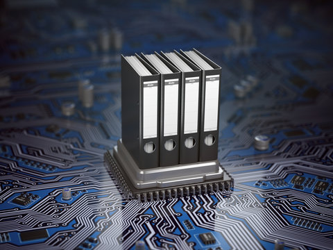 Database  archive data storage concept. Binders on CPU processor and motherboard