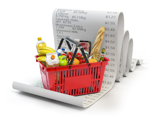 Grocery expenses budget  and consumerism concept. Shopping basket with foods on the receipt isolated on white.