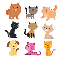 dog and cat character vector design
