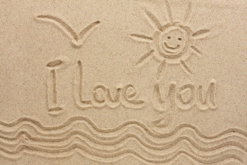 I love you handwritten in sand for natural, love,tourism or conceptual designs.