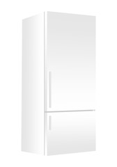 White refrigerator with freezer on white background. Modern 3d fridge with door. Home kitchen electrical appliance.