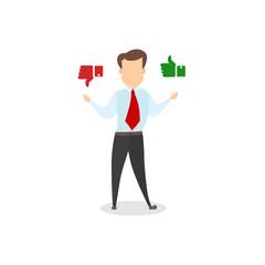 Businessman choosing between positive and negative feedback