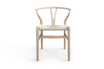 Modern light wood chair. 3d render