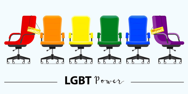Business hiring and recruiting in LGBT power concept. Office chair or desk chair in various points of view. Office chair and a sign vacancy. Furniture for Interior in flat design. Vector illustration.