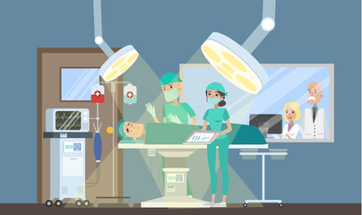 Surgeon making operation in the surgery room