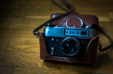 vintage old camera on the wood