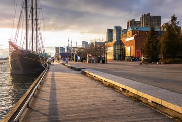 Boardwalk on Toronto Waterfront Lit by an Autumnal Setting Sun. ON, Canada.  Fototapete