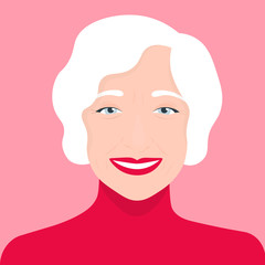 Portrait of an old woman. Avatar cheerful pensioner. Vector illustration