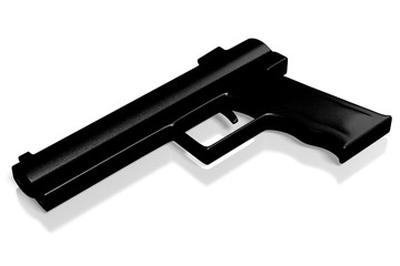 3D handgun on white background