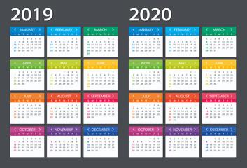 2019 2020 Calendar - illustration. Template. Mock up