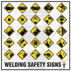 Set of safety signs and symbols for welding works. Safety signs use to remind all workers to be aware while at welding work activities.